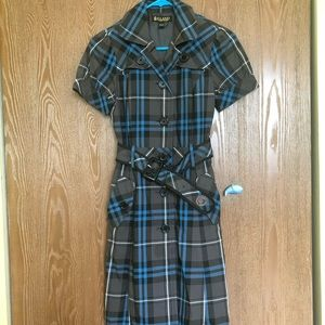 Plaid Belted Lined Short Sleeves Shirt Dress